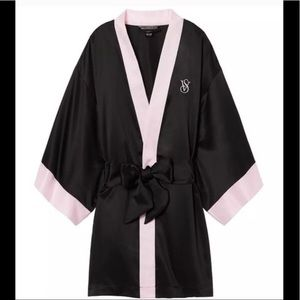 Victoria's Secret Black and Pink Kimono Satin Robe
